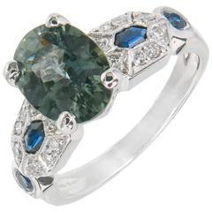Peter Suchy 2.07 Carat Color Change Sapphire Diamond Platinum Engagement Ring