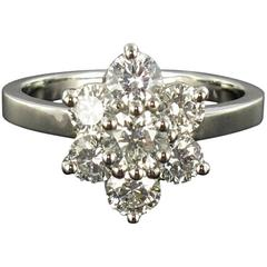 New French Diamond Platinum Engagement Ring