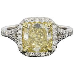 Canary Yellow Cushion GIA Certified Diamond Halo Engagement Ring