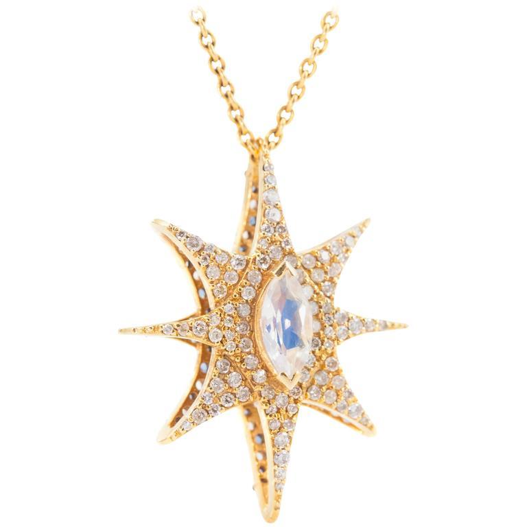 Lauren Harper 1.60 Carat Diamond, Rainbow Moonstone Reversible Gold Star Pendant