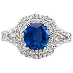 2.06 Carat Natural Sapphire Diamond Gold Ring