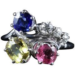 4 Carat Pink Yellow Blue Sapphire Ring Set with Diamonds 14 Carat Gold