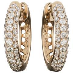 Round Diamond Pave Rose Gold Huggie Hoop Earrings