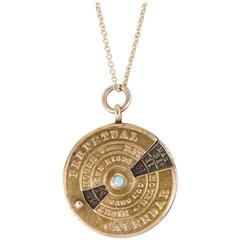 Victorian Perpetual Calendar Pendant with Turquoise
