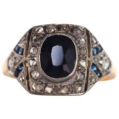 1905 AGL Certified 1.30 Carat Sapphire Edwardian Yellow Gold Platinum Ring