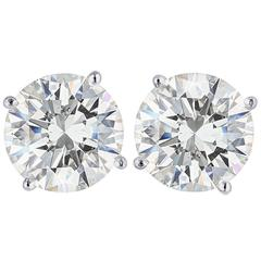 Ideal Cut Hearts and Arrows EGL Certified 6.02 Carats Diamond Studs