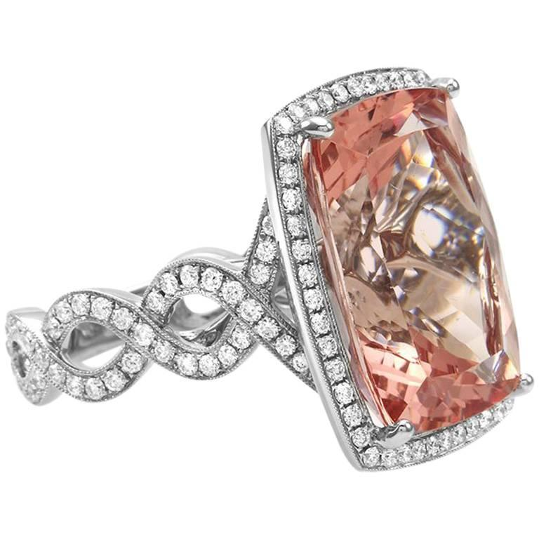 Morganite Pave Diamond Gold Ring For Sale at 1stdibs