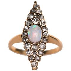 1880s Navette Shape Opal Diamond Yellow Gold Engagement Ring