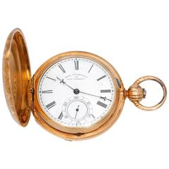 F. H. Clark & Co. Engraved Yellow Gold Pocket Watch