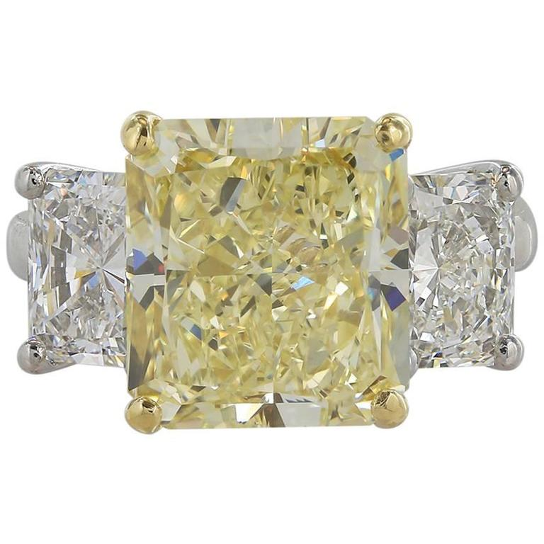 GIA Certified 5.87 Carat Fancy Yellow Three Stone Engagement Diamond Ring