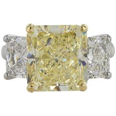GIA Certified 5.87 Carat Fancy Yellow Three Stone Diamond Ring