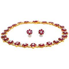 Ruby Diamond Gold Set