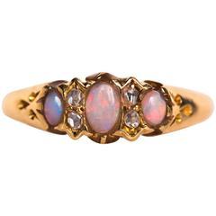 1890s Victorian Yellow Gold Opal Diamond Wedding Band Ring