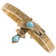 Mid-Victorian Turquoise and Seed Pearl Garter Bracelet
