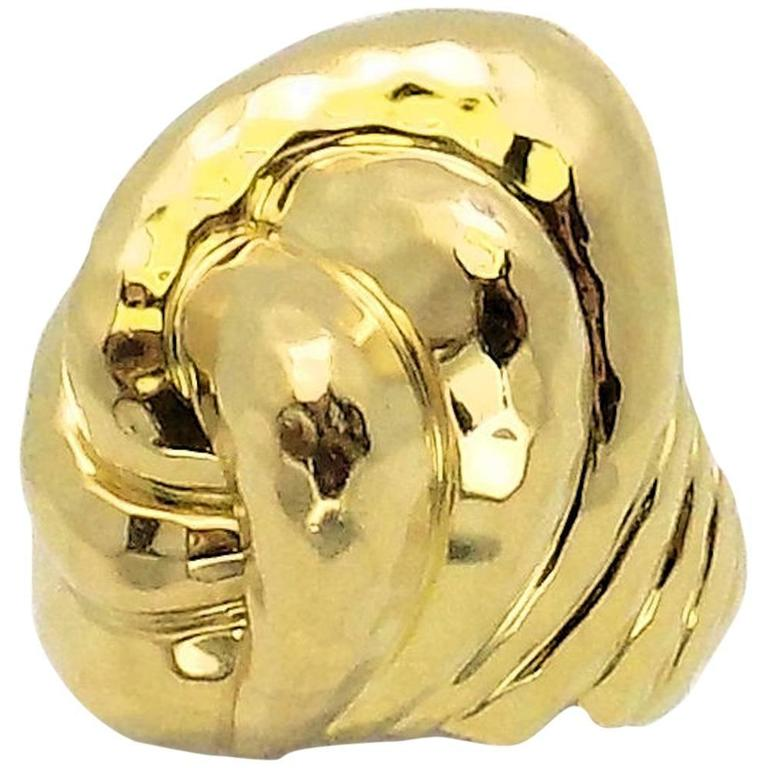 Henry Dunay Facets High Dome Double Knot Gold Ring For Sale
