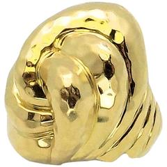Henry Dunay Facets High Dome Double Knot Gold Ring