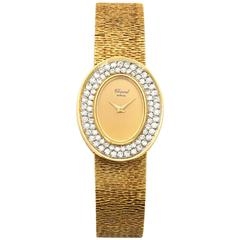 Chopard Ladies Yellow Gold Pavè Diamond Oval Bracelet Watch circa 1970s