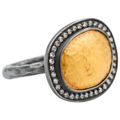 Lika Behar .48 Carat Diamonds Oxidized Silver Gold Reflections Ring