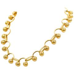 Ray Griffiths 18 Karat Ball and Oval Toggle Necklace