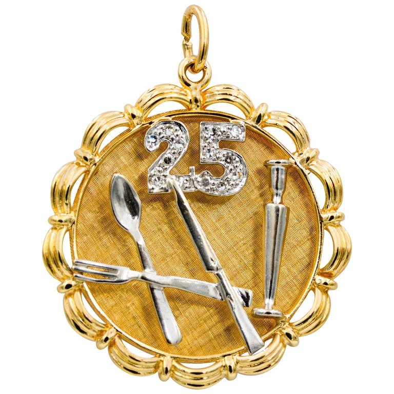 Diamond 14 Karat Yellow and White Gold Charm