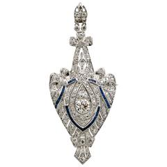 3.00 Carat Diamond Sapphire Platinum Pin Pendant