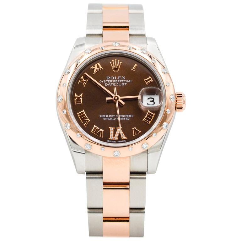 4ea490e4fae Rolex Ladies Rose Gold Chocolate Dial Datejust Oyster Perpetual Wristwatch  For Sale