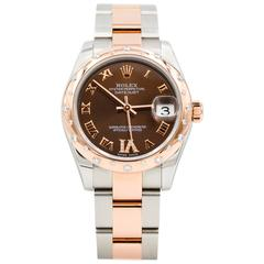 Rolex Ladies Rose Gold Chocolate Dial Datejust Oyster Perpetual Wristwatch