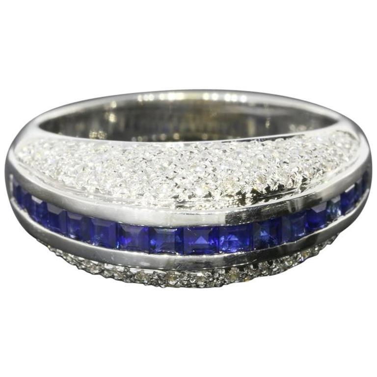 White Gold Sapphire and Diamond Unique Domed Band Ring For Sale
