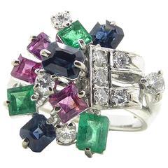 1970s Multistone Diamond Sapphire Ruby Cocktail Ring