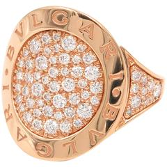 Bulgari White Gold Rose Gold Diamond Pave Ring