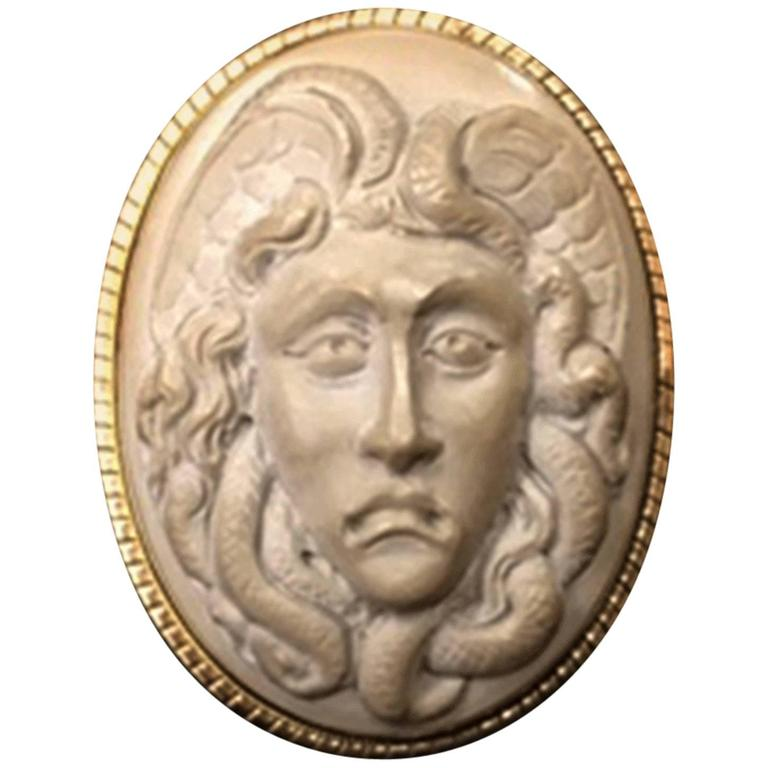 Antique Carved Lava Cameo of Medusa Gold Pin Brooch Pendant