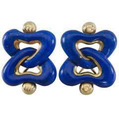 Angela Cummings Lapis Lazuli Gold Clip Earrings