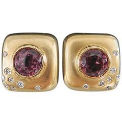 Angela Cummings Pink Tourmaline Diamond Brushed Gold Square Earrings