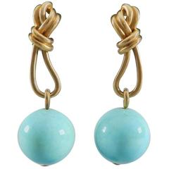 Angela Cummings Matte Brushed Gold and Turquoise Bead Drop Earrings