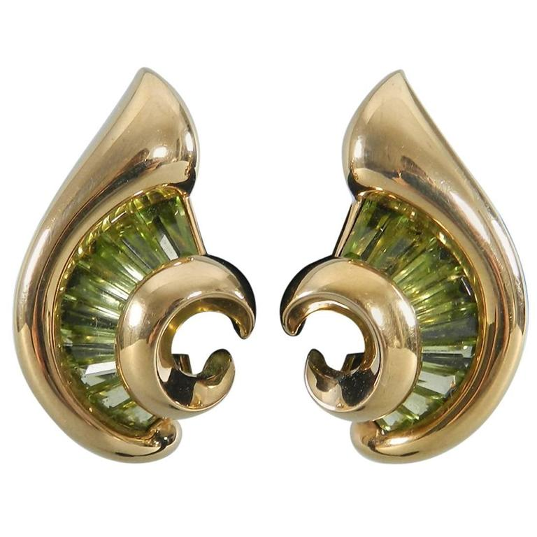 Verdura Green Tourmaline Gold Swirl Clip Earrings For Sale