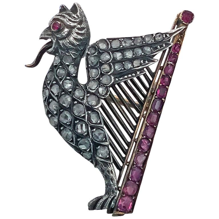 Mythical 19th Century Griffin and Lyre Ruby, Diamond, Pearl Gold Brooch, French