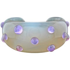 Carved Agate and Amethyst Cuff