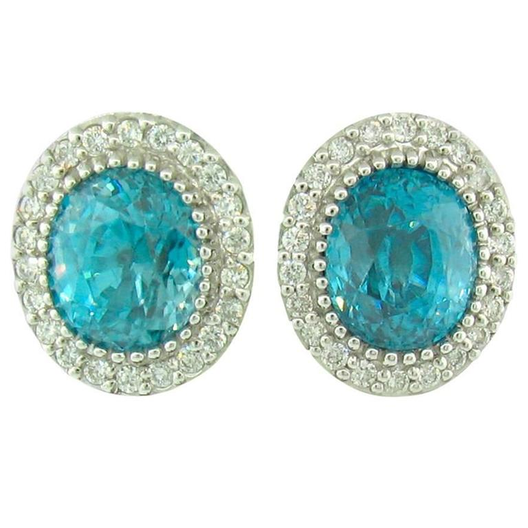 Natural Blue Zircon and Diamond Stud Earrings For Sale at ...