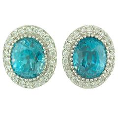 Natural Blue Zircon and Diamond Stud Earrings