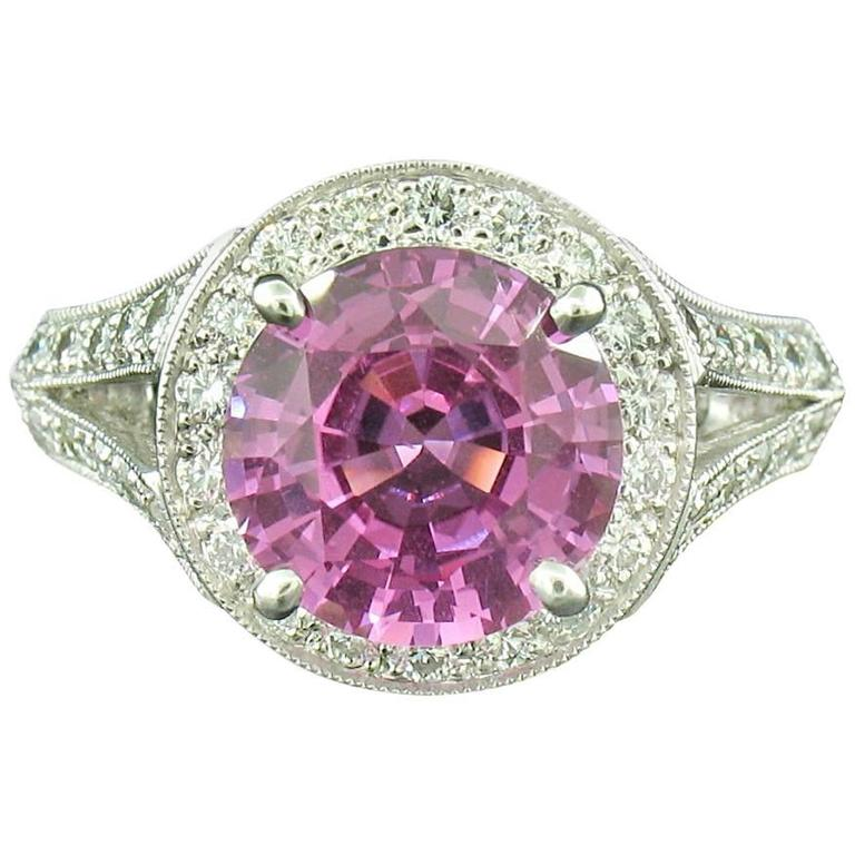 Pink Sapphire and Diamond Ring in Platinum For Sale