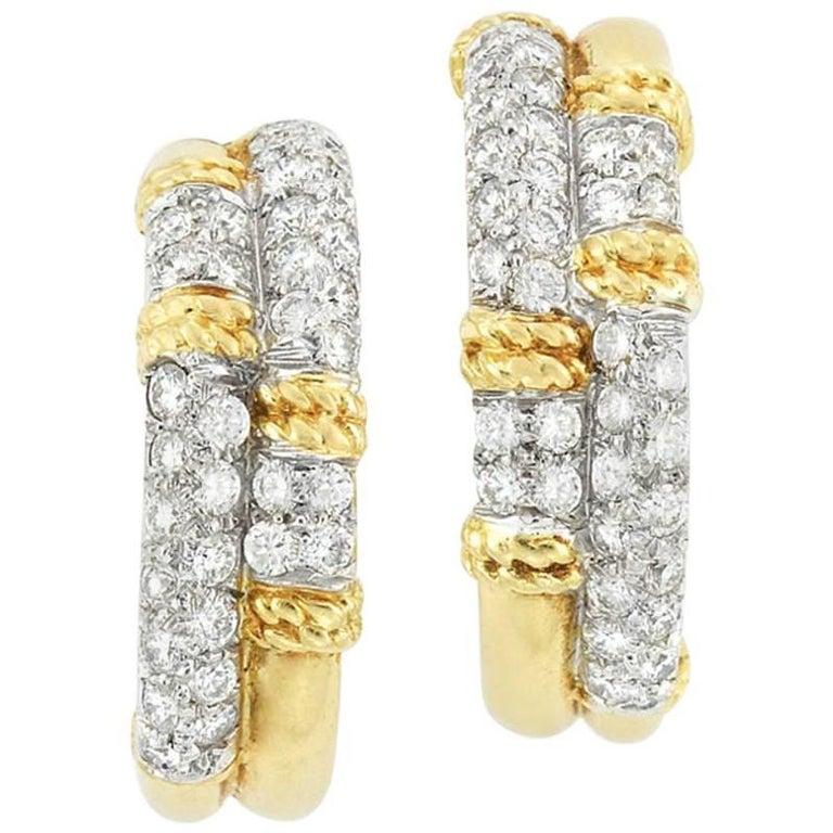 Pair of Gold and Diamond Hoop Earrings by Kutchinsky, 1970
