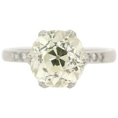GIA Certified 3.46 Carat Old European Cut Diamond Ring