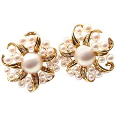 Tiffany & Co. Diamond Pearl Yellow Gold Large Earrings