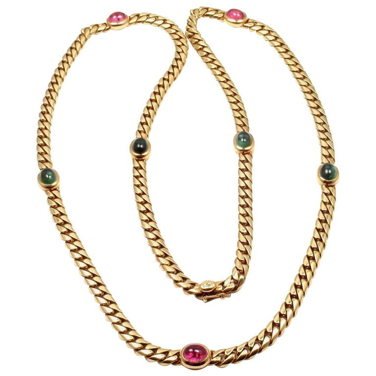 Bulgari Pink and Green Tourmaline Yellow Gold Link Necklace