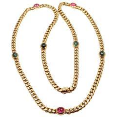 Bulgari Pink and Green Tourmaline Yellow Gold Link Necklace