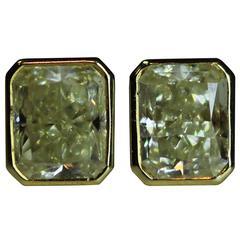 18 Karat Fancy Light Yellow Radiant Cut Diamond Bezel Set Studs