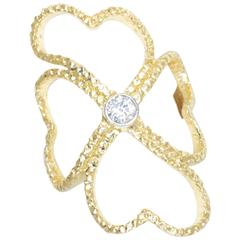 Doria 0.15 Carat Diamond Yellow Gold Platinum Lucky Clover Ring
