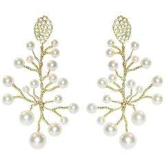 Doria White Freshwater Pearls Chandelier Earrings in 18 Karat Yellow Gold