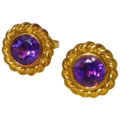 Tiffany & Co. 18 Karat and Amethyst Ear Studs