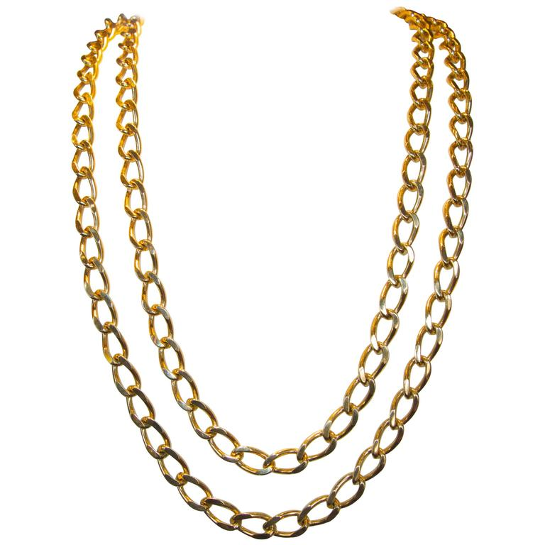 Long Gold Chain Necklace and Bracelet For Sale